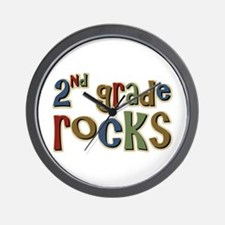 2nd Grade Rocks Second School Wall Clock