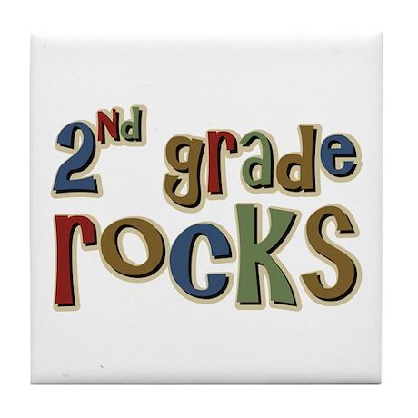 2nd Grade Rocks Second School Tile Coaster