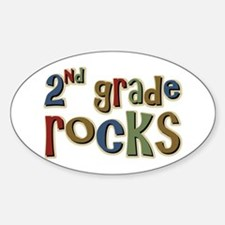 2nd Grade Rocks Second School Oval Decal