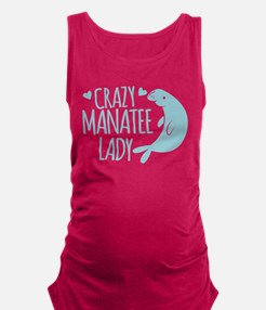 Crazy Manatee Lady Maternity Tank Top