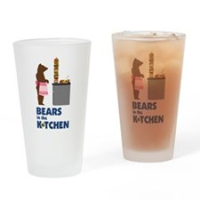 Bears in the Kitchen Drinking Glass