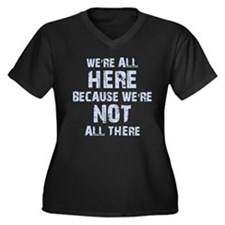 Not All Ther Women's Plus Size V-Neck Dark T-Shirt