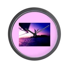 Pink Statue of Liberty Sailing by NYC 1 Wall Clock