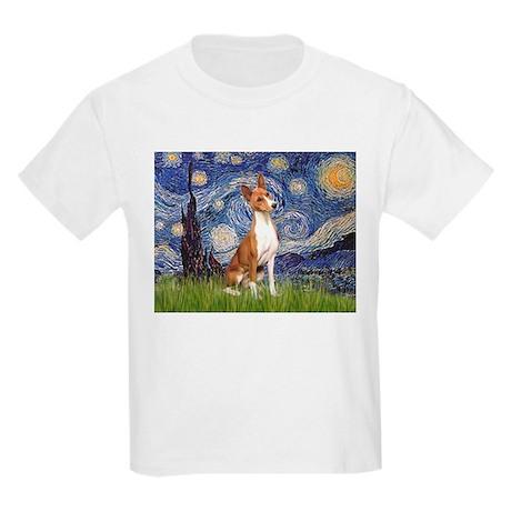 Starry Night & Basenji Kids Light T-Shirt