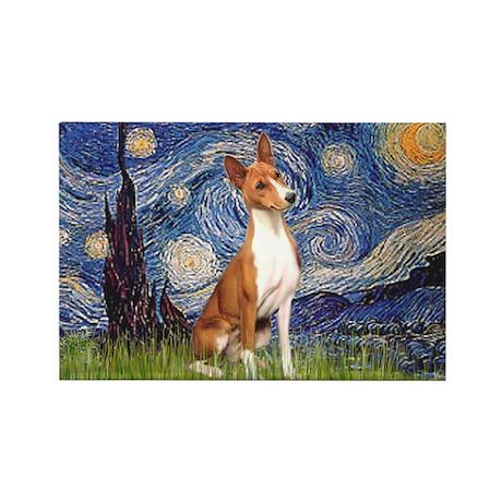 Starry Night & Basenji Rectangle Magnet