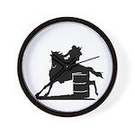 barrel racing silhouette Wall Clock
