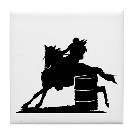 barrel racing silhouette Tile Coaster
