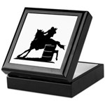 barrel racing silhouette Keepsake Box