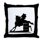 barrel racing silhouette Throw Pillow