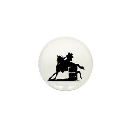 barrel racing silhouette Mini Button