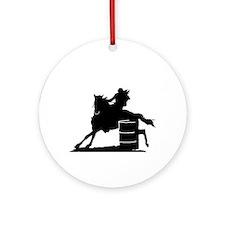 barrel racing silhouette Ornament (Round)