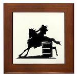barrel racing silhouette Framed Tile