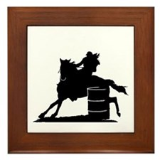 barrel racing silhouette Framed Tile