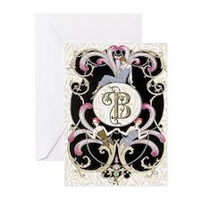 Monogram B Barbier Cabaret Greeting Cards