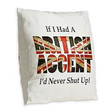 British Accent Burlap Throw Pillow