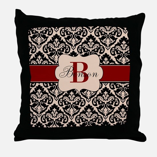 Beige Red Damask Personalized Throw Pillow