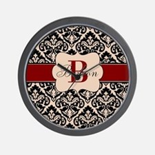Beige Red Damask Personalized Wall Clock
