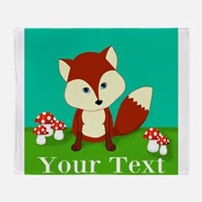 Personalizable Woodland Fox Throw Blanket