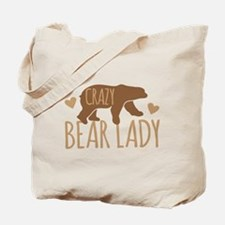 Crazy Bear Lady Tote Bag