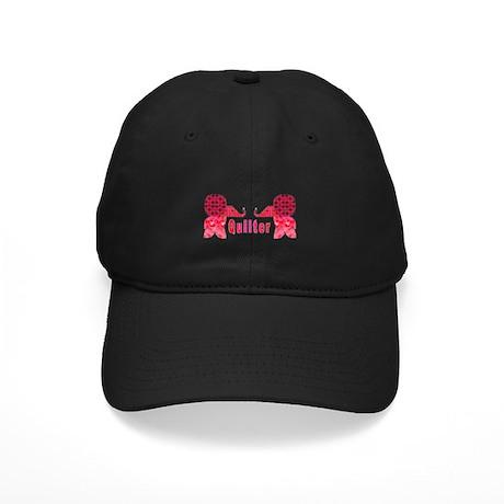 Quilter Pink Elephants t-shir Black Cap