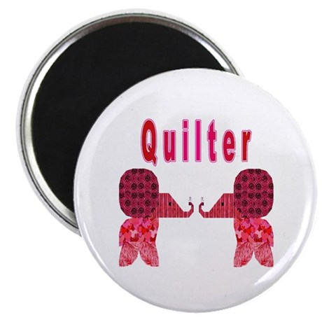 Quilter Pink Elephants t-shir Magnet