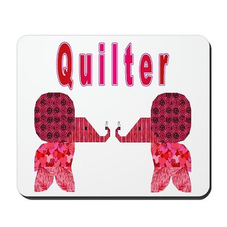 Quilter Pink Elephants t-shir Mousepad
