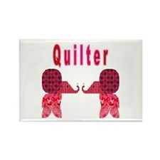 Quilter Pink Elephants t-shir Rectangle Magnet