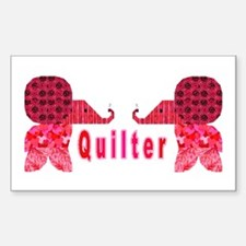 Quilter Pink Elephants t-shir Sticker (Rectangular