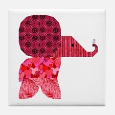 Quilter Pink Elephants t-shir Tile Coaster