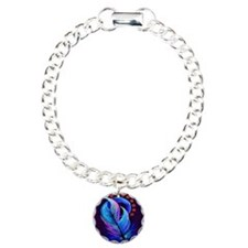 feather with flowers 2.p Charm Bracelet, One Charm