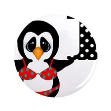 "1st Birthday Penguin in Swimsuit 3.5"" Button"