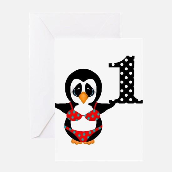 1st Birthday Penguin in Swimsuit Greeting Cards