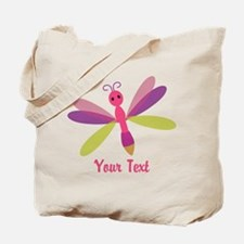 Cute Pink, Purple and Green Dragonfly; Girl Tote B