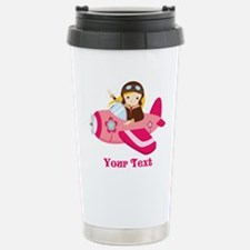 Pink Airplane, Girl Pilot with flowers Travel Mug