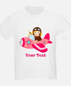 Pink Airplane, Girl Pilot with flowers T-Shirt