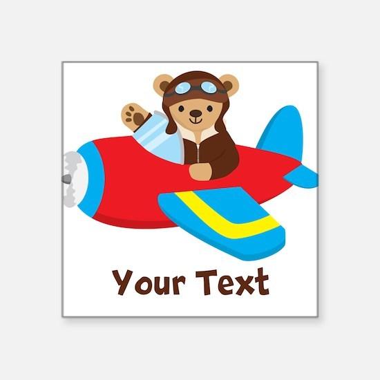 Cute Teddy Bear Pilot in Red, Blue Airplane Sticke