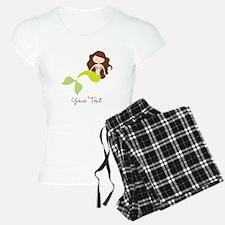 Cute Girl Mermaid, Green & Brown Pajamas