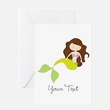 Cute Girl Mermaid, Green & Brown Greeting Cards