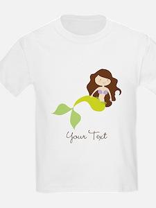 Cute Girl Mermaid, Green & Brown T-Shirt