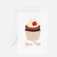 Cute Chocolate and Strawberry Cupcake, Girl Greeti