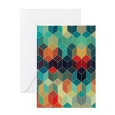 Colorful Cubes Geometric Pattern 2 Greeting Cards