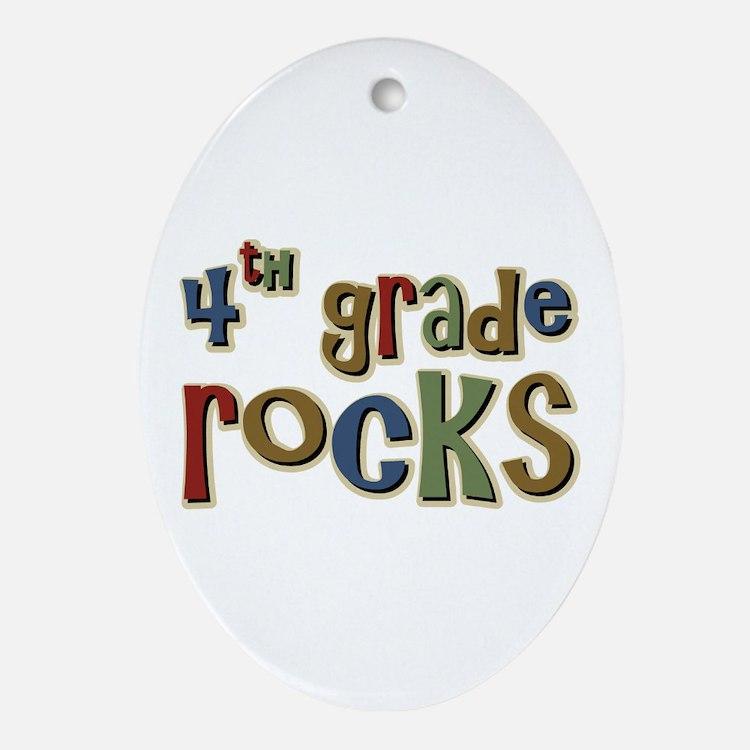 4th Grade Rocks Fourth School Oval Ornament