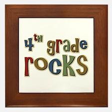 4th Grade Rocks Fourth School Framed Tile
