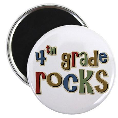 "4th Grade Rocks Fourth School 2.25"" Magnet (100 pa"
