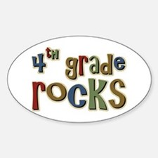 4th Grade Rocks Fourth School Oval Decal