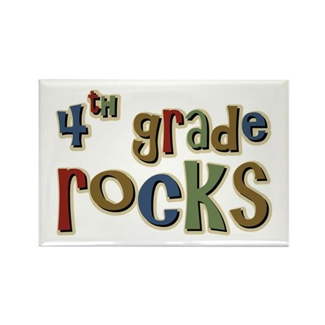 4th Grade Rocks Fourth School Rectangle Magnet (10