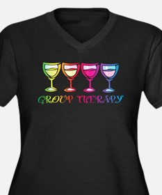 Wine Group Therapy 2 Women's Plus Size V-Neck Dark