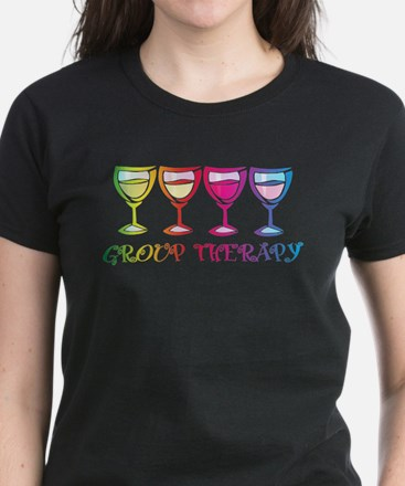 Wine Group Therapy 2 Women's Dark T-Shirt