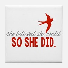She Believed She Could Tile Coaster