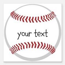 "Baseball Square Car Magnet 3"" x 3"""